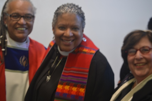 Rev. Elder Darlene Garner, Rev. Candy Holmes and Rabbi Eger